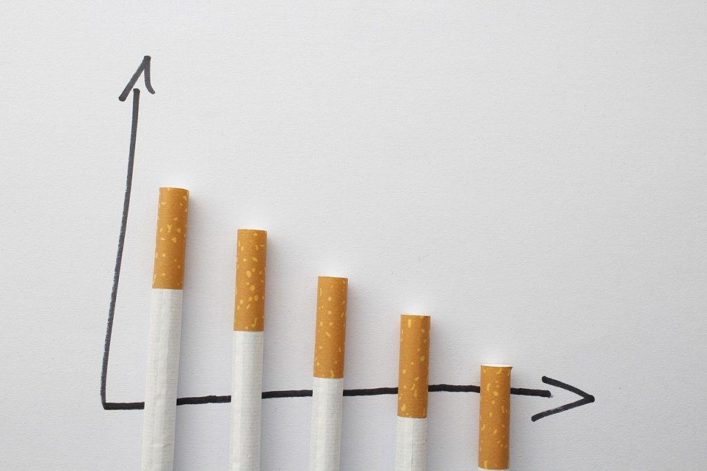 cigarettes used as columns on graph